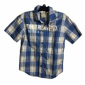 Boys Timberland Plaid Button Down Top Size 5